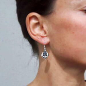 Boucles d'oreilles ethniques en labradorite