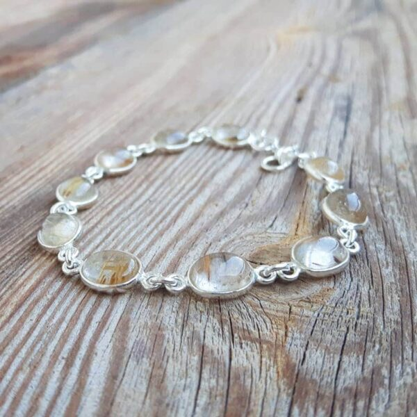 Bracelet en quartz rutile doré