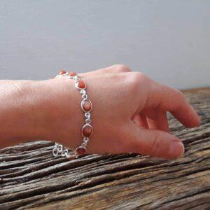 Bracelet pierre de soleil en argent