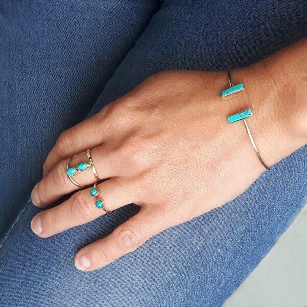 Bague double turquoise ILONA