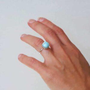 Adjustable larimar ring OCEAN
