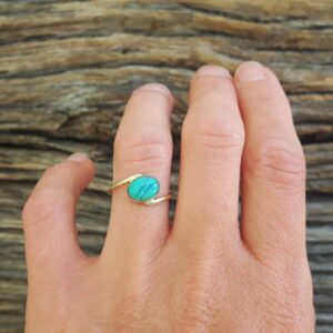 Bague turquoise or JANIS
