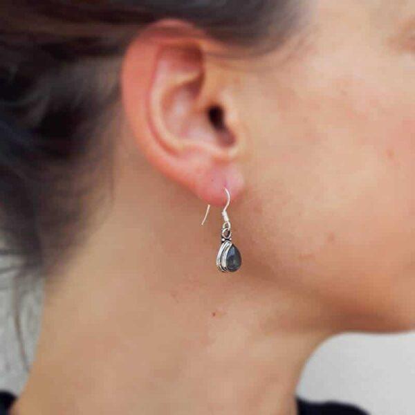 Boucles d'oreilles labradorite en argent