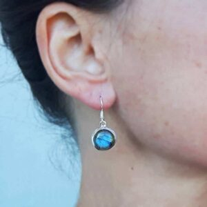 Boucles d'oreilles labradorite rondes argent