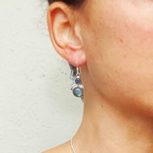 Boucles d'oreilles petites lunes labradorite