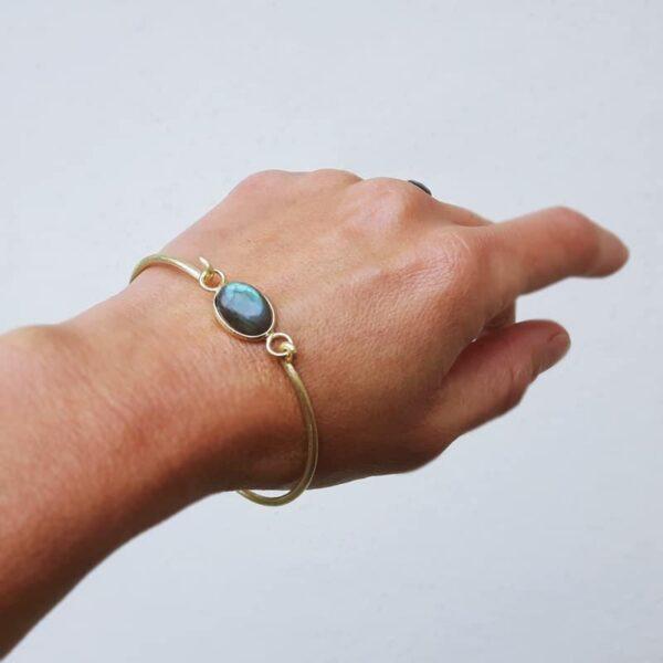 Bracelet jonc labradorite doré MIA