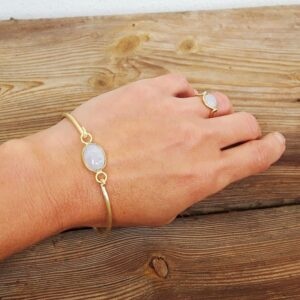 Golden moonstone Bangle Bracelet MIA