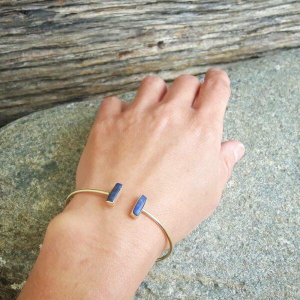 Jonc ouvert lapis lazuli or GEO