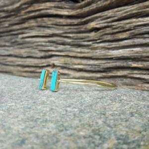 GEO gold turquoise open bangle