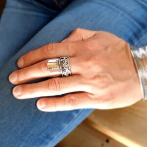 Ethnic adjustable silver ring