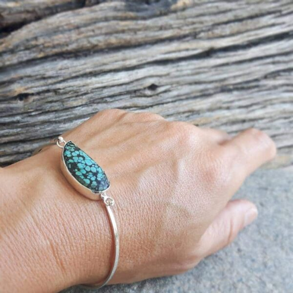 Silver turquoise ring VAGUE