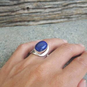 Adjustable ring lapis lazuli silver