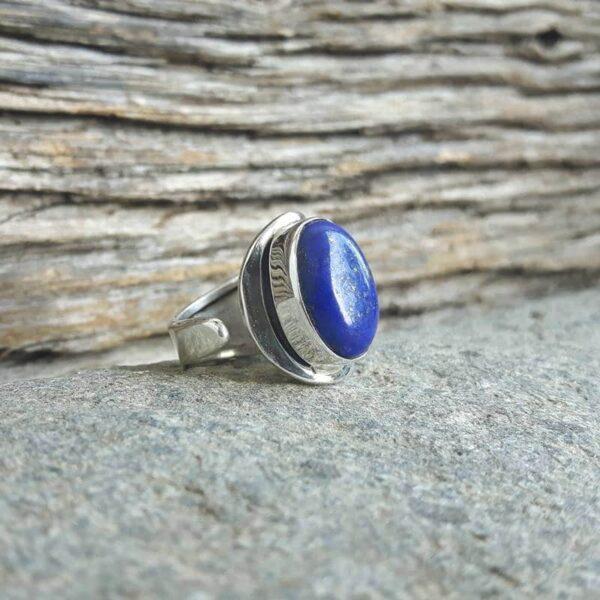 Bague ajustable lapis lazuli argent