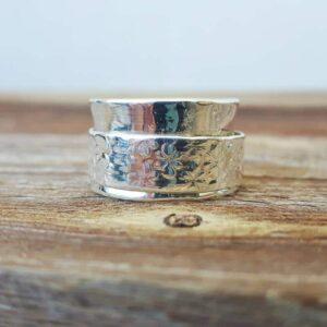 OM silver meditation ring