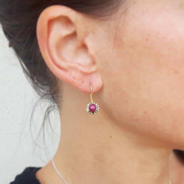 Boucles d'oreilles FLOWER rubis indien