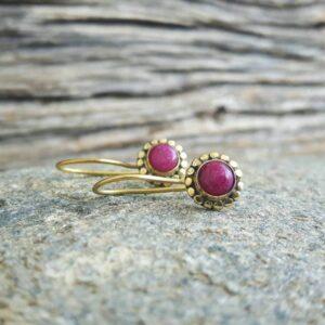 Boucles d'oreilles en FLOWER rubis indien