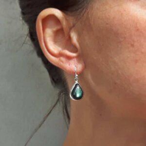 Boucles d'oreilles labradorite gouttes