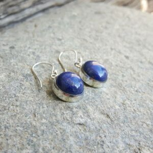Lapis lazuli silver round earrings