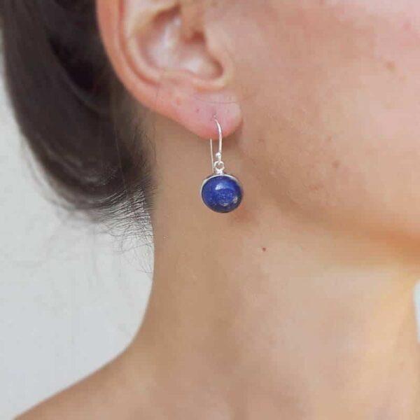 Boucles d'oreilles rondes lapis lazuli argent