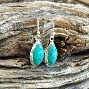 Boucles d'oreilles turquoise pendantes
