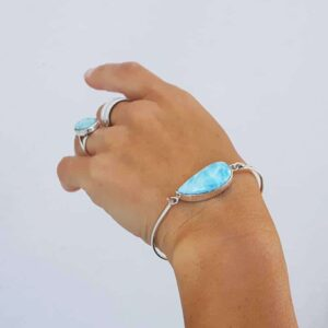 Silber Larimar Armband WAVE
