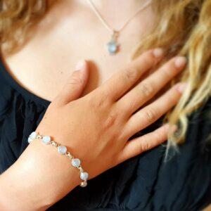 Silver moonstone bracelet