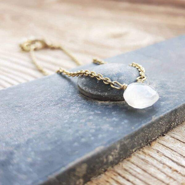 Gold bracelet moonstone drop
