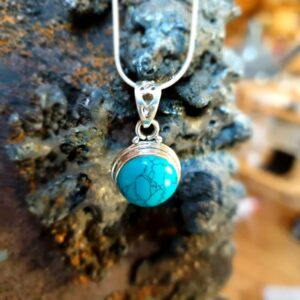 Silver turquoise pendant NUDE