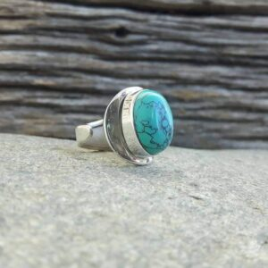 Zilver turquoise verstelbare ring