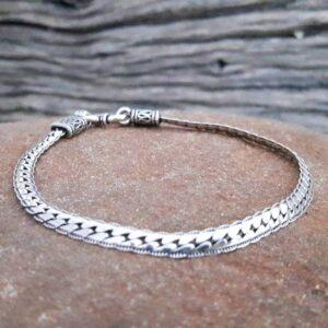 Bracelet argent maille serpent plat
