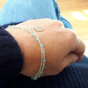 Fine blue apatite bracelet FLEUR DE VIE