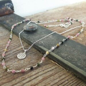 Silver tourmaline necklace FLOWER OF LIFE