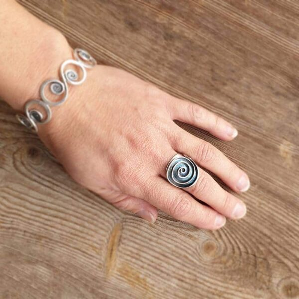 SPIRALE adjustable silver ring