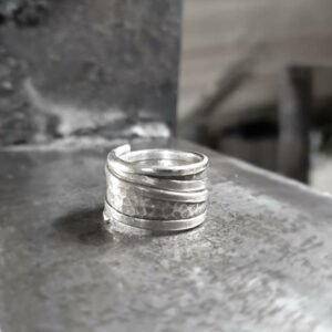 Large hammered silver ring