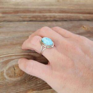 Einstellbarer Larimar Cabochon Ring