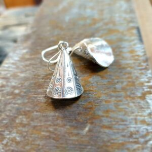 Engraved silver earrings