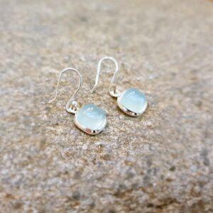 Water green chalcedony earrings
