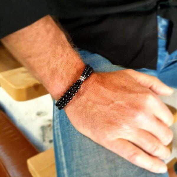 Bracelet double tour homme en onyx