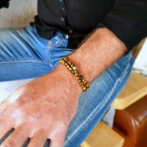 Bracelet homme 2 tours oeil de tigre
