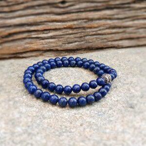 Man bracelet wrap lapis lazuli