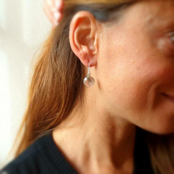 Boucles d'oreilles quartz rose argent