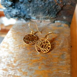 Boucles d'oreilles fleur de lotus or