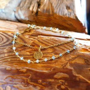 Bracelet apatite bleue fleur de vie