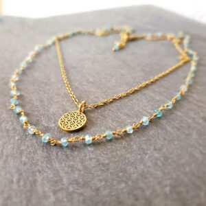 Collier apatite bleue or