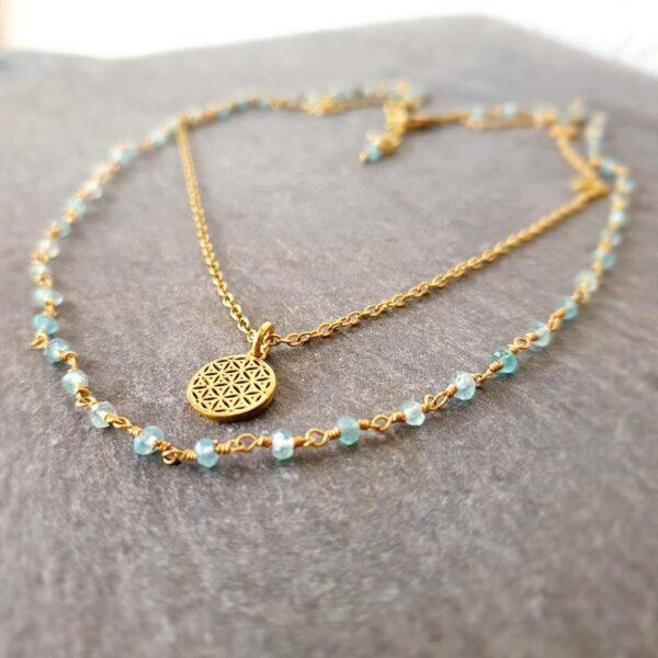 Blaue Apatitkette Gold