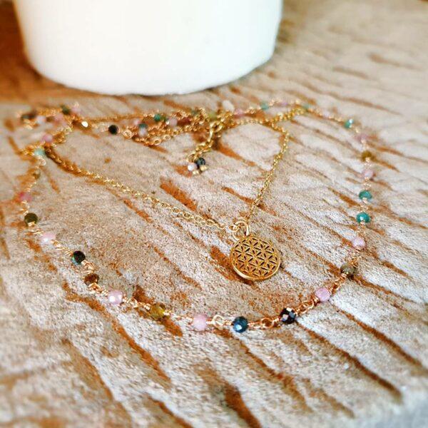 Mehrfarbige goldene Turmalin-Halskette