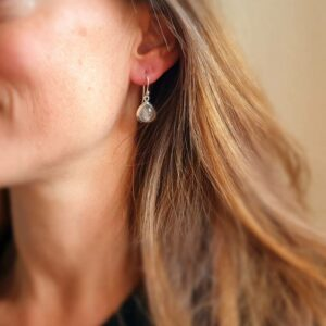Boucles d'oreilles quartz rose argent gouttes