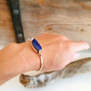 Jonc lapis lazuli argent VAGUE