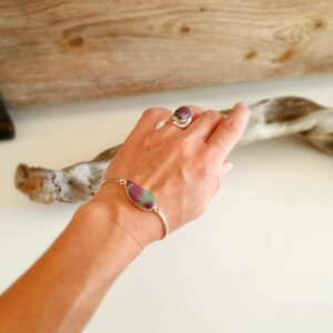 Bracciale rigido in argento rubino Zoisite VAGUE