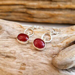 Boucles d'oreilles rubis indien argent